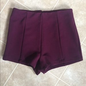 Forever 21 wine pleated shorts